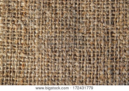 Textured background of a brown burlap bag close up