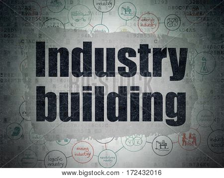Industry concept: Painted black text Industry Building on Digital Data Paper background with  Scheme Of Hand Drawn Industry Icons