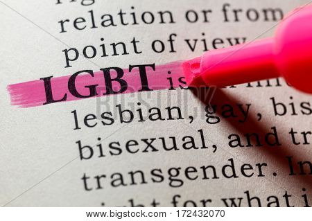 Fake Dictionary Dictionary definition of the word LGBT. including key descriptive words.
