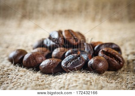 Coffee On Grunge Burlap Background, Close Up