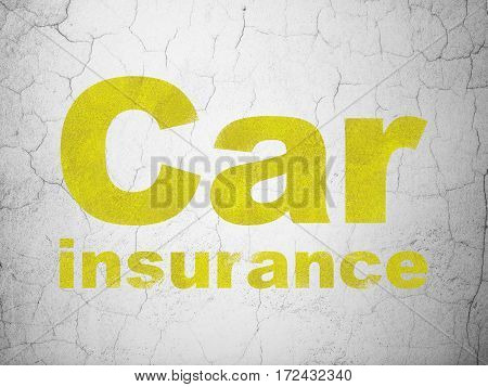 Insurance concept: Yellow Car Insurance on textured concrete wall background
