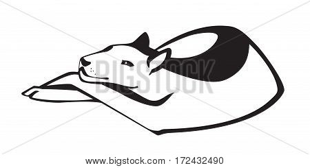 Black silhouette of a dog lying down. Vector isolated on white background.