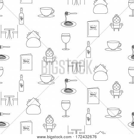Restaurant line icon seamless pattern. Black objects of food and drink on white background.
