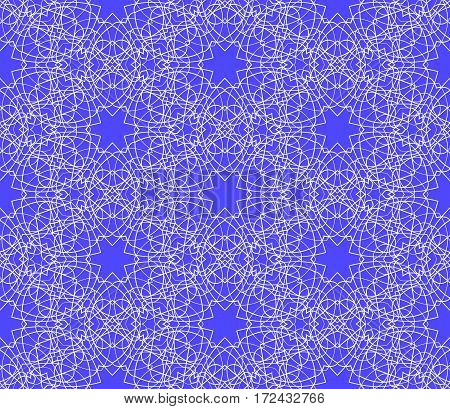 Vector seamless pattern white on blue background. Ornamental intricate design.