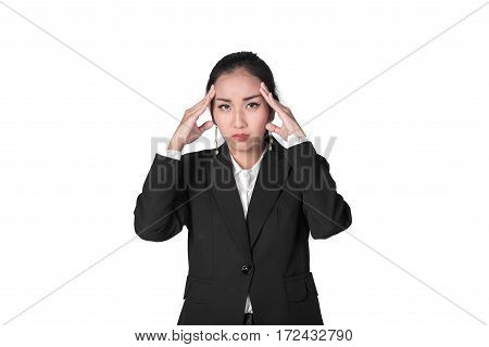 Stressed business Asian woman feeling headache isolated on white background