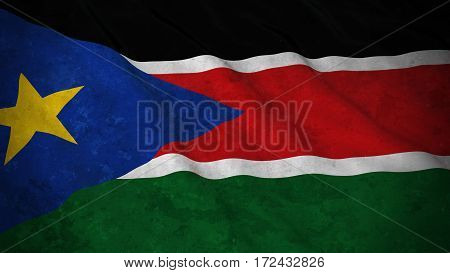 Grunge Flag Of South Sudan - Dirty South Sudanese Flag 3D Illustration