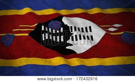 Grunge Flag Of Swaziland - Dirty Swazi Flag 3D Illustration