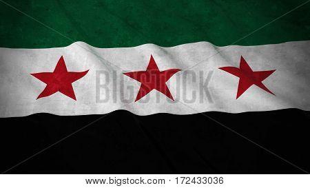 Grunge Flag Of Syria Opposition - Dirty Syrian Flag 3D Illustration