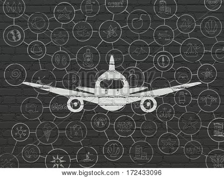 Vacation concept: Painted white Aircraft icon on Black Brick wall background with Scheme Of Hand Drawn Vacation Icons