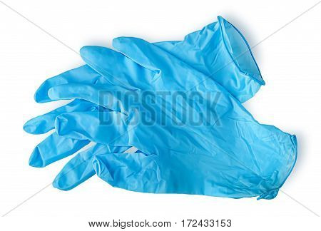 Pair blue medical gloves isolated on white background