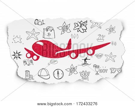 Tourism concept: Painted red Airplane icon on Torn Paper background with  Hand Drawn Vacation Icons
