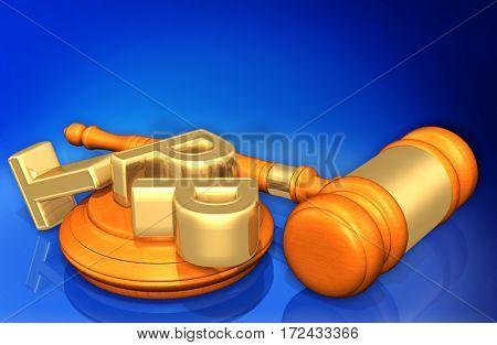 TPP Letters Scattered Law Legal Gavel Concept 3D Illustration