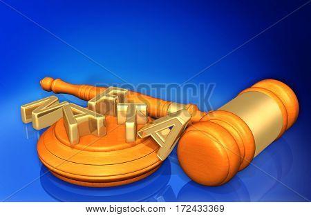 NAFTA Letters Scattered Legal Gavel Concept 3D Illustration