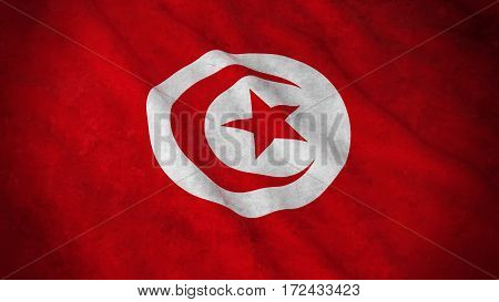 Grunge Flag Of Tunisia - Dirty Tunisian Flag 3D Illustration