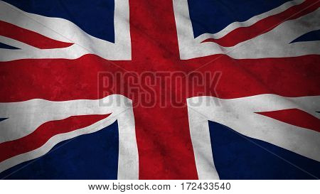 Grunge Flag Of The United Kingdom - Dirty British Flag 3D Illustration