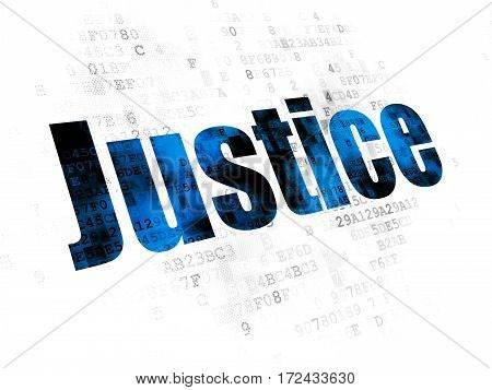 Law concept: Pixelated blue text Justice on Digital background
