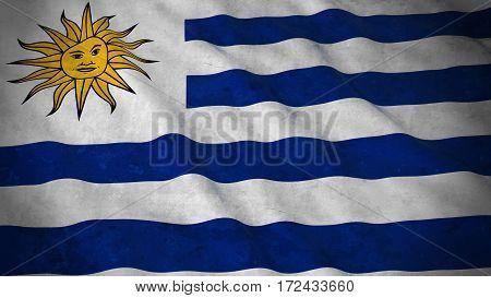 Grunge Flag Of Uruguay - Dirty Uruguayan Flag 3D Illustration