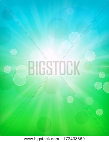 Spring background, blurred light dots, blue sky with sun rays. Great background for any nature, spring, Easter theme.