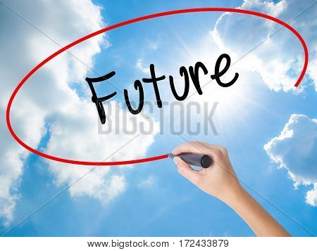 Woman Hand Writing Future  With Black Marker On Visual Screen
