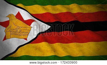 Grunge Flag Of Zimbabwe - Dirty Zimbabwean Flag 3D Illustration