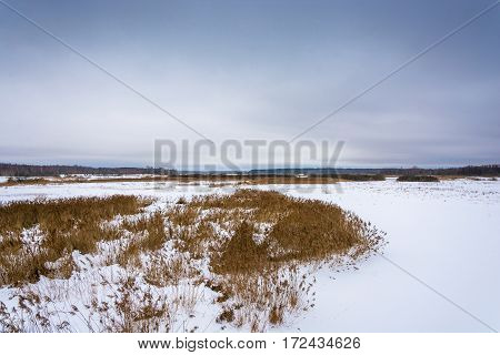 Beautiful winter landscape on a cloudy overcast day Russia.