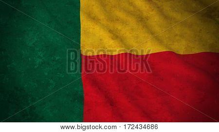 Grunge Flag Of Benin - Dirty Beninese Flag 3D Illustration