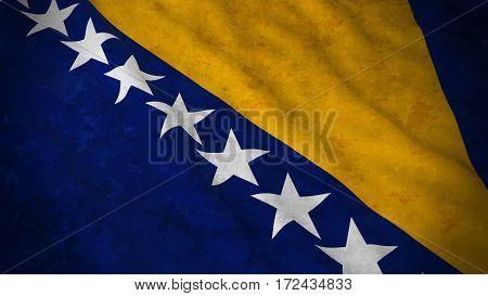 Grunge Flag Of Bosnia And Herzegovina - Dirty Bosnian Herzegovinian Flag 3D Illustration