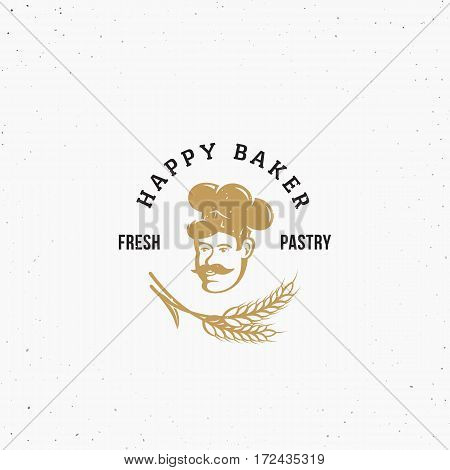 Happy Baker Premium Vector Pastry Emblem, Sign or Logo Template. Chef in a Cook Hat Silhouette with Spica and Retro Typography. Isolated.