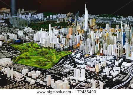 Kuala Lumpur, Malaysia - February 7, 2016: City model show in Kuala Lumpur City Gallery. The Central part of the city Twin Towers.
