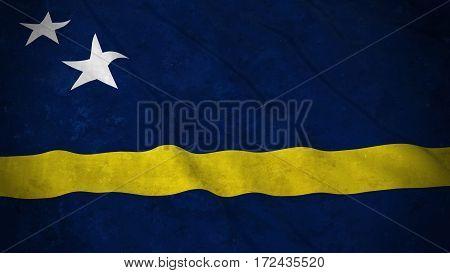 Grunge Flag Of Curacao - Dirty Curacaoan Flag 3D Illustration