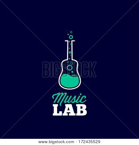 Music Laboratory Abstract Vector Sign, Emblem or Logo Template. Guitar and Chemical Flask Creative Concept Silhouette. Good for Instruments Store and Musical Education. On Blue Background.