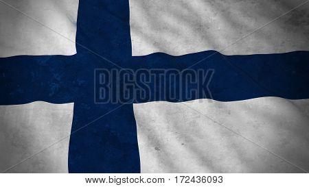 Grunge Flag Of Finland - Dirty Finnish Flag 3D Illustration