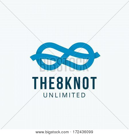 Figure Eight Knot Abstract Vector Sign, Emblem or Logo Template. Infinity Symbol Ribbon Concept. Isolated.