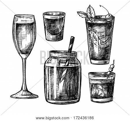 Hand Drawn Vector Illustration - Collection Of Alcoholic And Non-alcoholic Cocktails. Design Element