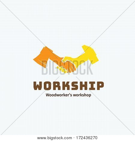 Work and Friendship Abstract Vector Symbol, Icon, Emblem or Logo Template. Woodworkers Workshop Logotype. Handshake of Axe and Hammer Creative Concept Symbol. Isolated.