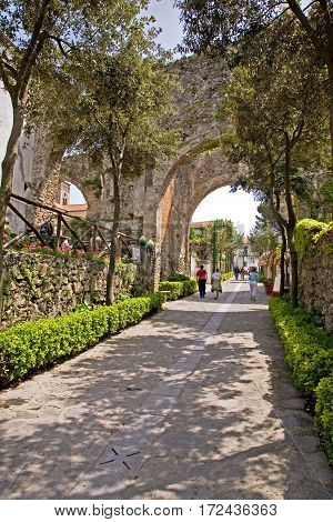 Ravello, Italy and the Roman walkway through town including viaducts overhead.