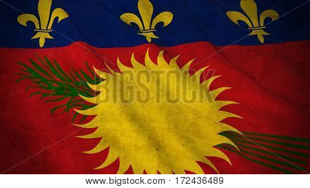 Grunge Flag Of Guadeloupe - Dirty Guadeloupe Flag 3D Illustration
