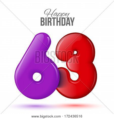 sixty three birthday greeting card template with 3d shiny number sixty three balloon on white background. Birthday party greeting, invitation card, banner with number 63shaped balloon