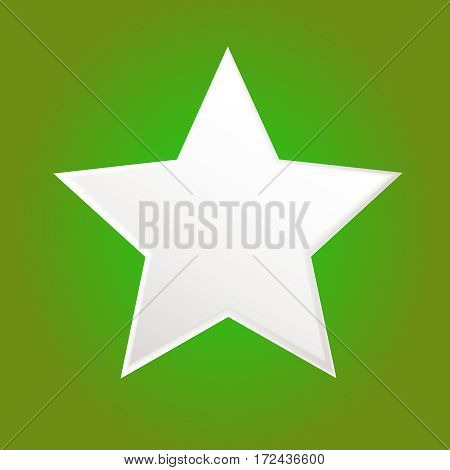 Five-pointed white star isolated on simple green background