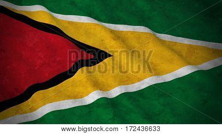 Grunge Flag Of Guyana - Dirty Guyanese Flag 3D Illustration
