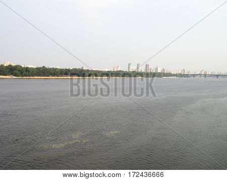 Dnepr River flows into the city of Kiev.
