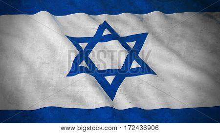 Grunge Flag Of Israel - Dirty Israeli Flag 3D Illustration