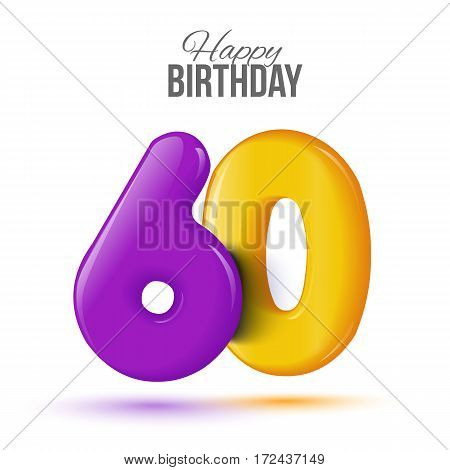 sixty birthday greeting card template with 3d shiny number sixty balloon on white background. Birthday party greeting, invitation card, banner with number 60 shaped balloon
