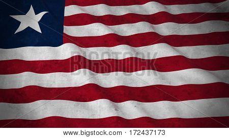 Grunge Flag Of Liberia - Dirty Liberian Flag 3D Illustration