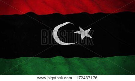 Grunge Flag Of Libya - Dirty Libyan Flag 3D Illustration