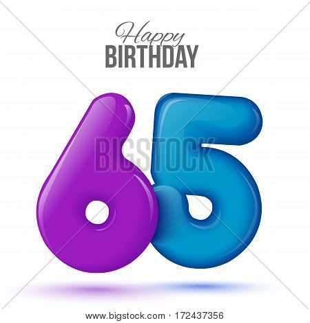sixty five birthday greeting card template with 3d shiny number sixty five balloon on white background. Birthday party greeting, invitation card, banner with number 65 shaped balloon