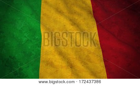 Grunge Flag Of Mali - Dirty Malian Flag 3D Illustration