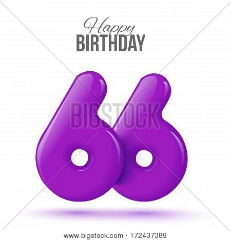 sixty six birthday greeting card template with 3d shiny number sixty six balloon on white background. Birthday party greeting, invitation card, banner with number 66 shaped balloon