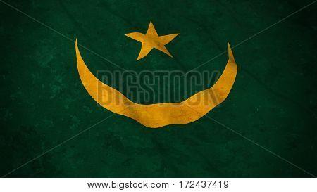 Grunge Flag Of Mauritania - Dirty Mauritanian Flag 3D Illustration