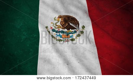 Grunge Flag Of Mexico - Dirty Mexican Flag 3D Illustration